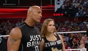 The Rock & Ronda Rousey @ WrestleMania 31 | Photo credit: WWE