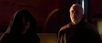 "Lord Sidious (Ian McDiarmid) talking over the plans with Count Dooku (Christopher Lee); Star Wars 'Episode II': Attack Of the Clones"" (2002) 