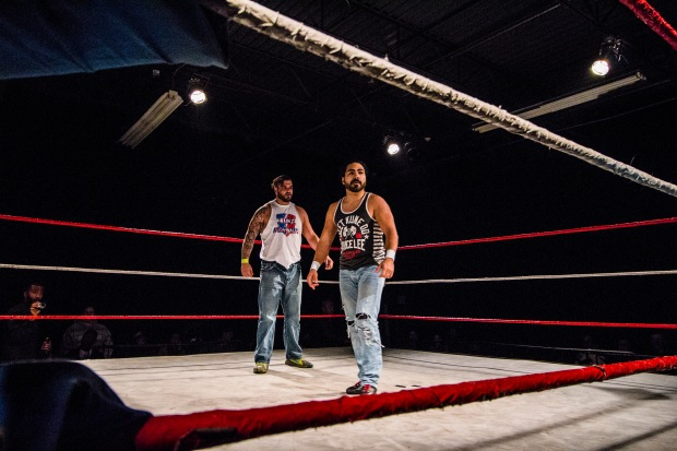 Mike Orlando & Joey Ace after the chaos; Tier 1 Wrestling   Credit: Andrew Kao