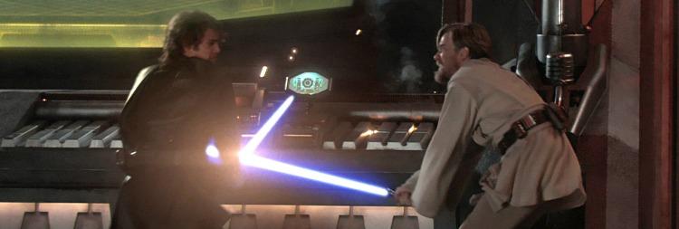 "Darth Vader formerly known as Anakin Skywalker vs. Obi-Wan Kenobi; Star Wars 'Episode III: Revenge of the Sith"" (2005)   Credit: Lucasfilm & Disney Studios"