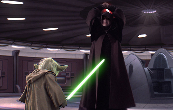 "Lord Sidious (Ian McDiarmid) vs Yoda; Star Wars 'Episode III: Revenge of the Sith"" (2005) | Credit: Lucasfilm & Disney Studios"