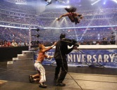The Undertaker taking flight, but something went wrong.... |Credit: WWE