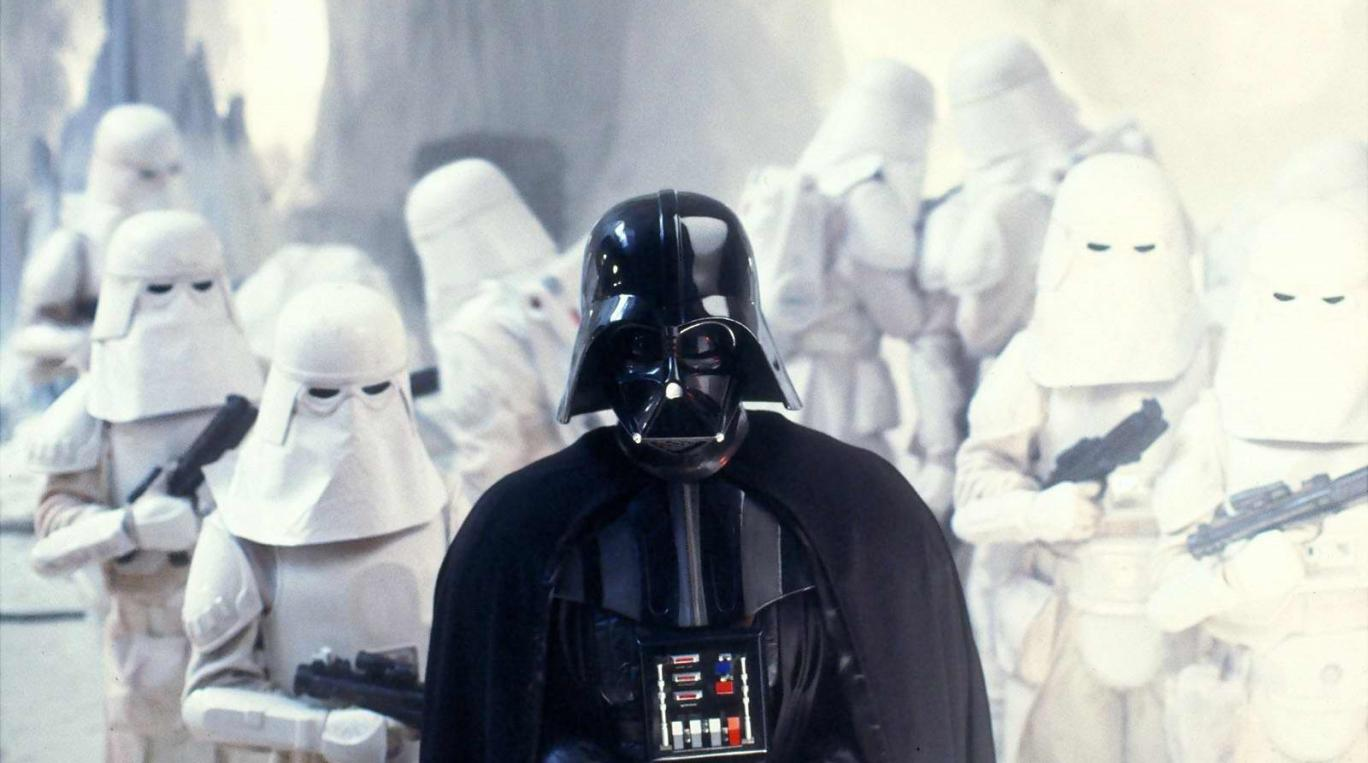 Darth Vader & his Snowtroopers in the 'Battle of Hoth'   Credit: Disney Studios & Lucasfilms