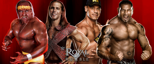 (From left to right) Hulk Hogan, Shawn Michaels, John Cena, & Batista | Credit WWE & Designed by J. Johnson
