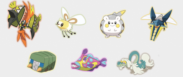 Pokemon 'Sun & Moon': Tapu Koko, Cutiefly, Togedemaru, Vikavolt, Charjabug, Bruxish, Drampa | Credit: The Pokemon Company & Nintendo